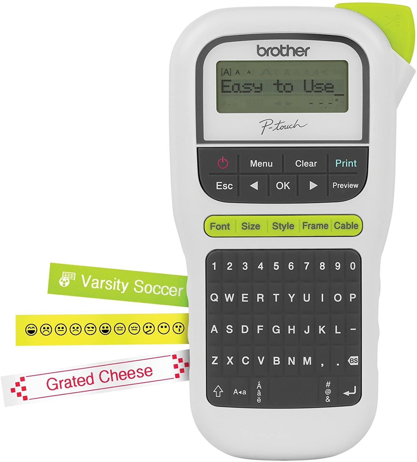 A label maker with a QWERTY keyboard and examples of the types of labels it can make in different colors