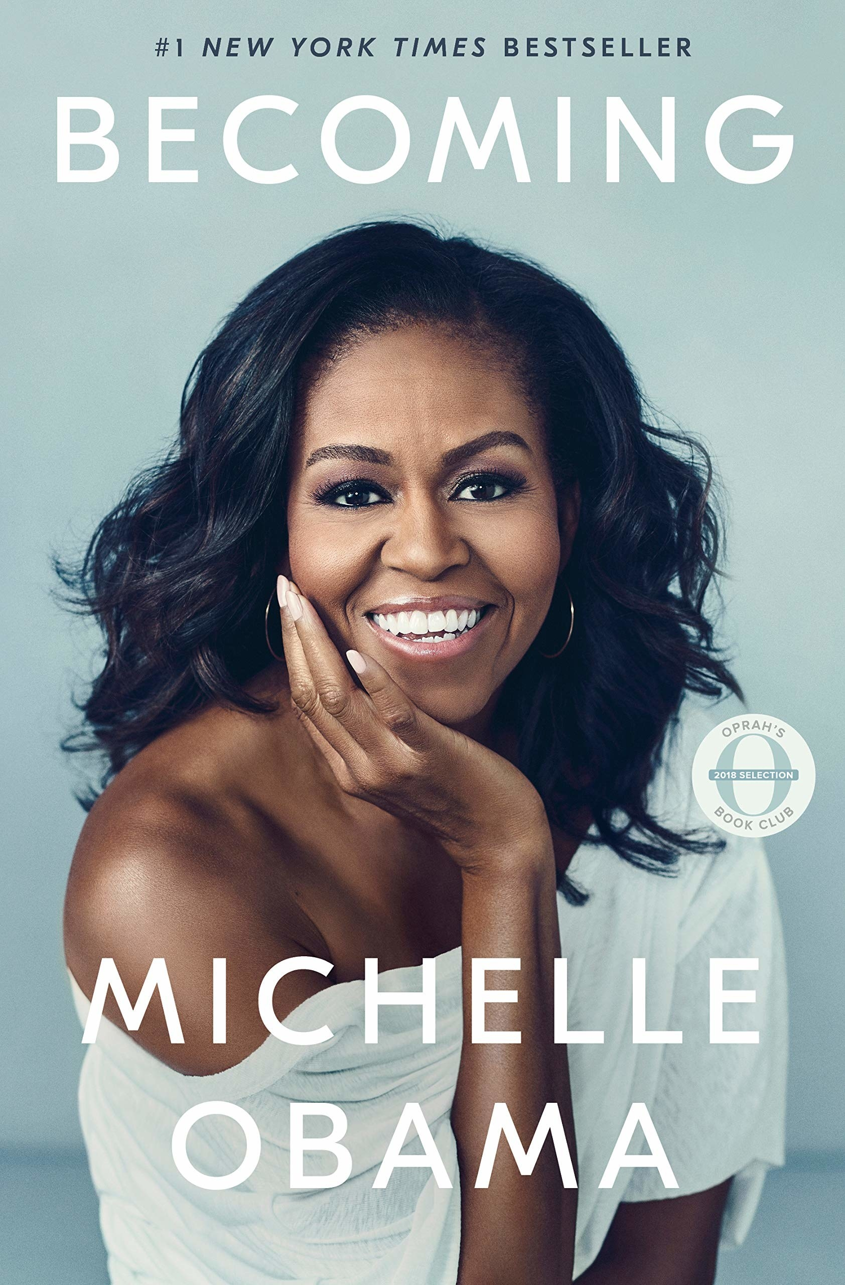 The book cover that features a photo of Michelle Obama smiling