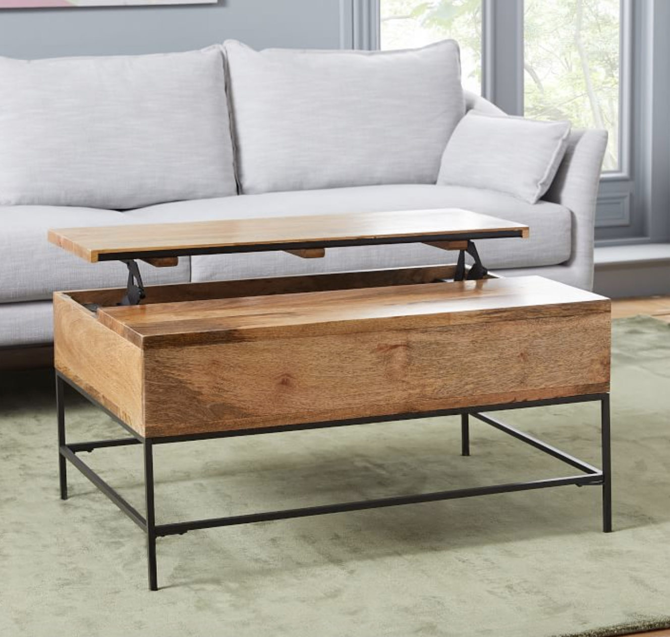 Coffee table with lifting lid