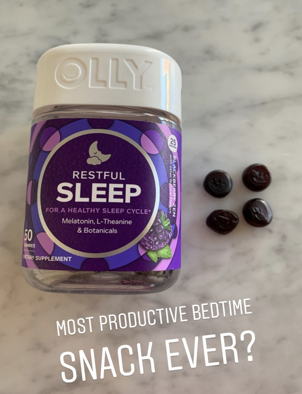 """The jar of gummies, four purple gummies on a counter, and text """"most productive bedtime snack ever?"""""""