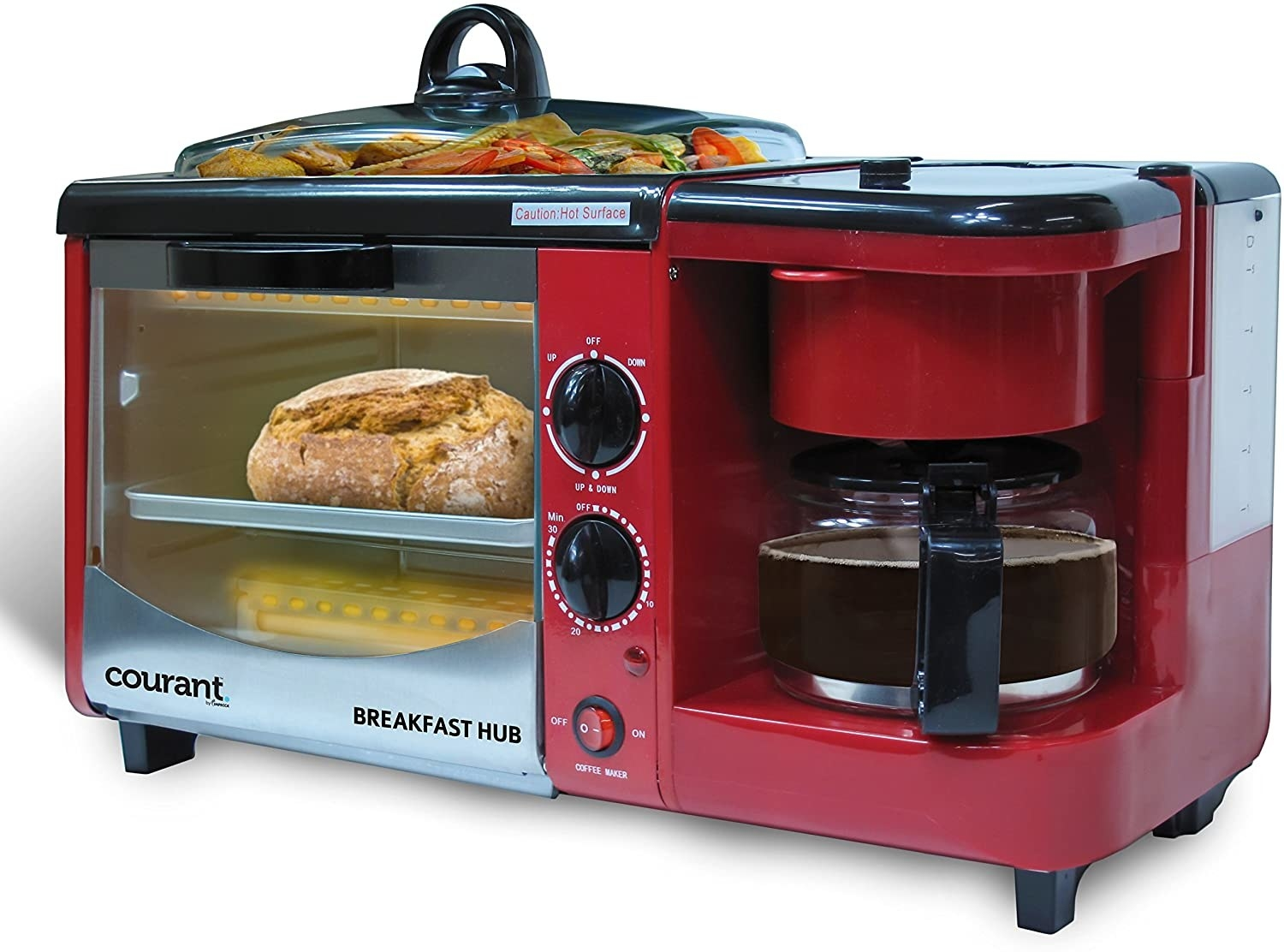 A toasting oven with a built-in coffeemaker on the side and a griddle on top with a lid