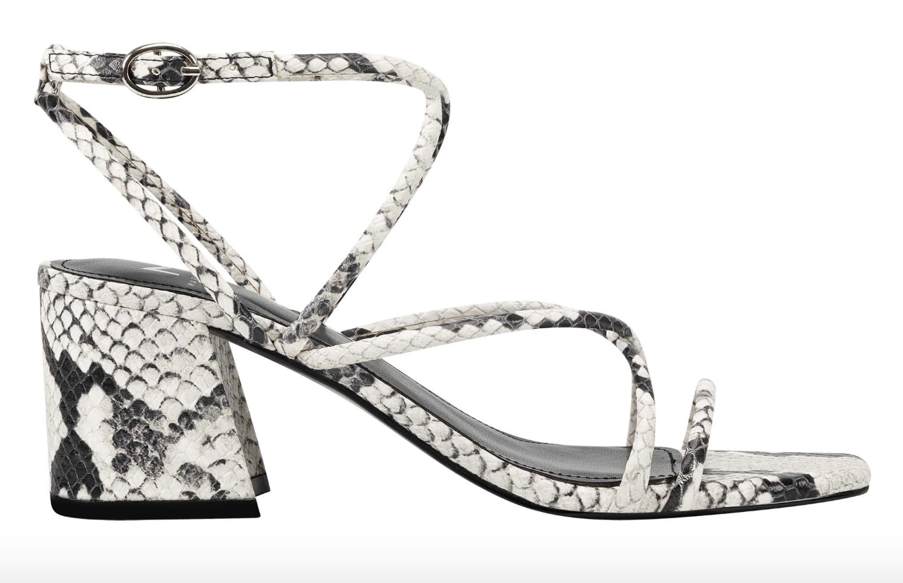A snake-print block heel sandal with a crisscross ankle strap and a square toe
