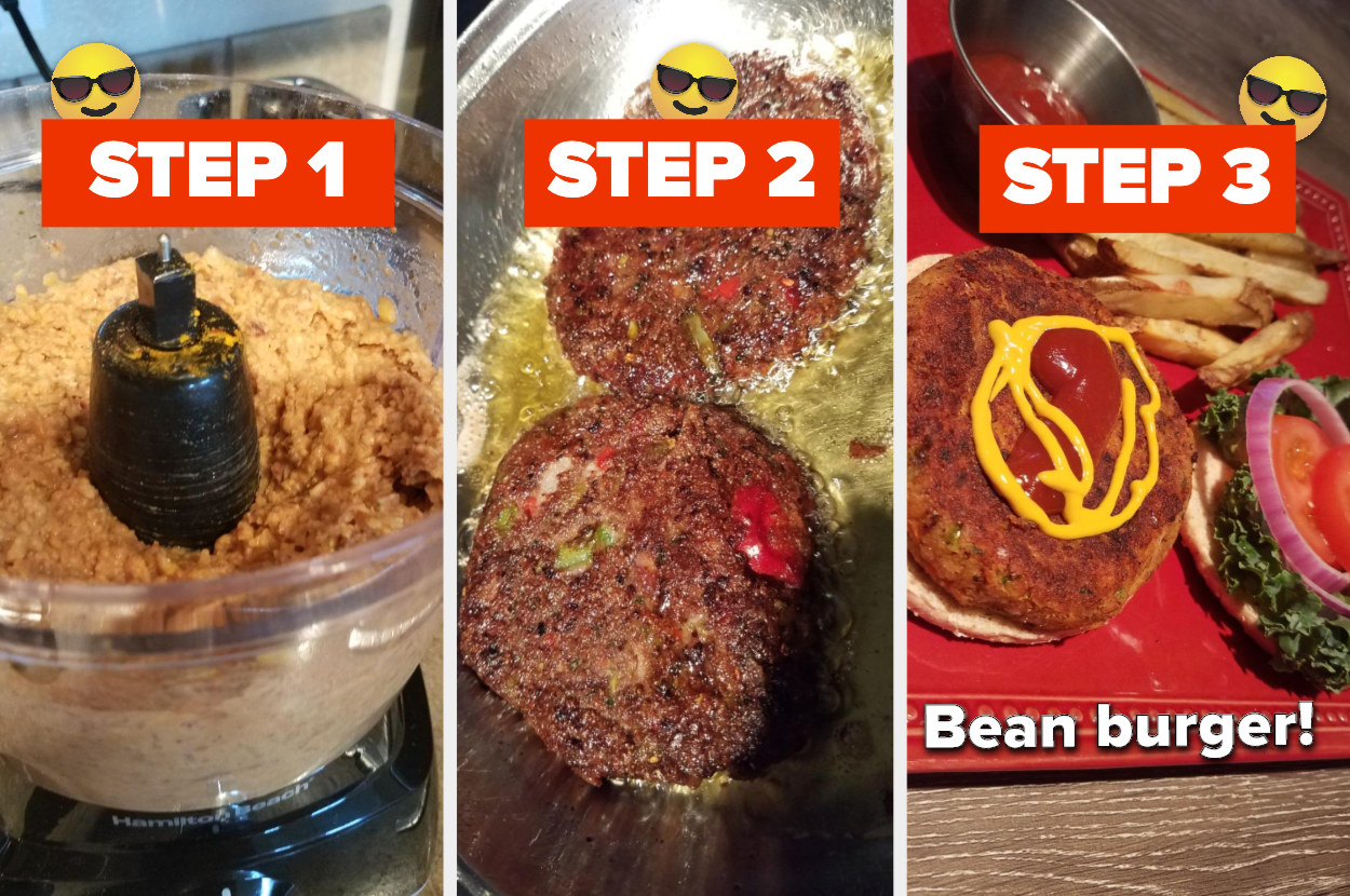 first pic shows the veggies grinded in the processor, the second image shows the burgers in the frying pan that were made with the stuff from the processor, and the third is the bean burger on a bun with condiments