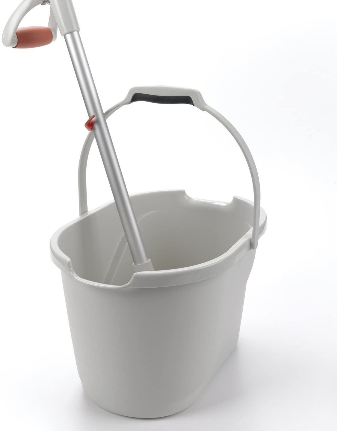 A white plastic bucker with handled extended while holding up a mop