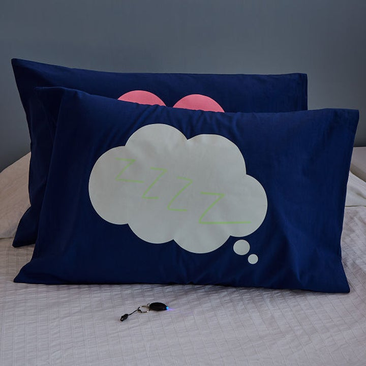 The doodle pillowcase in cloud and heart designs