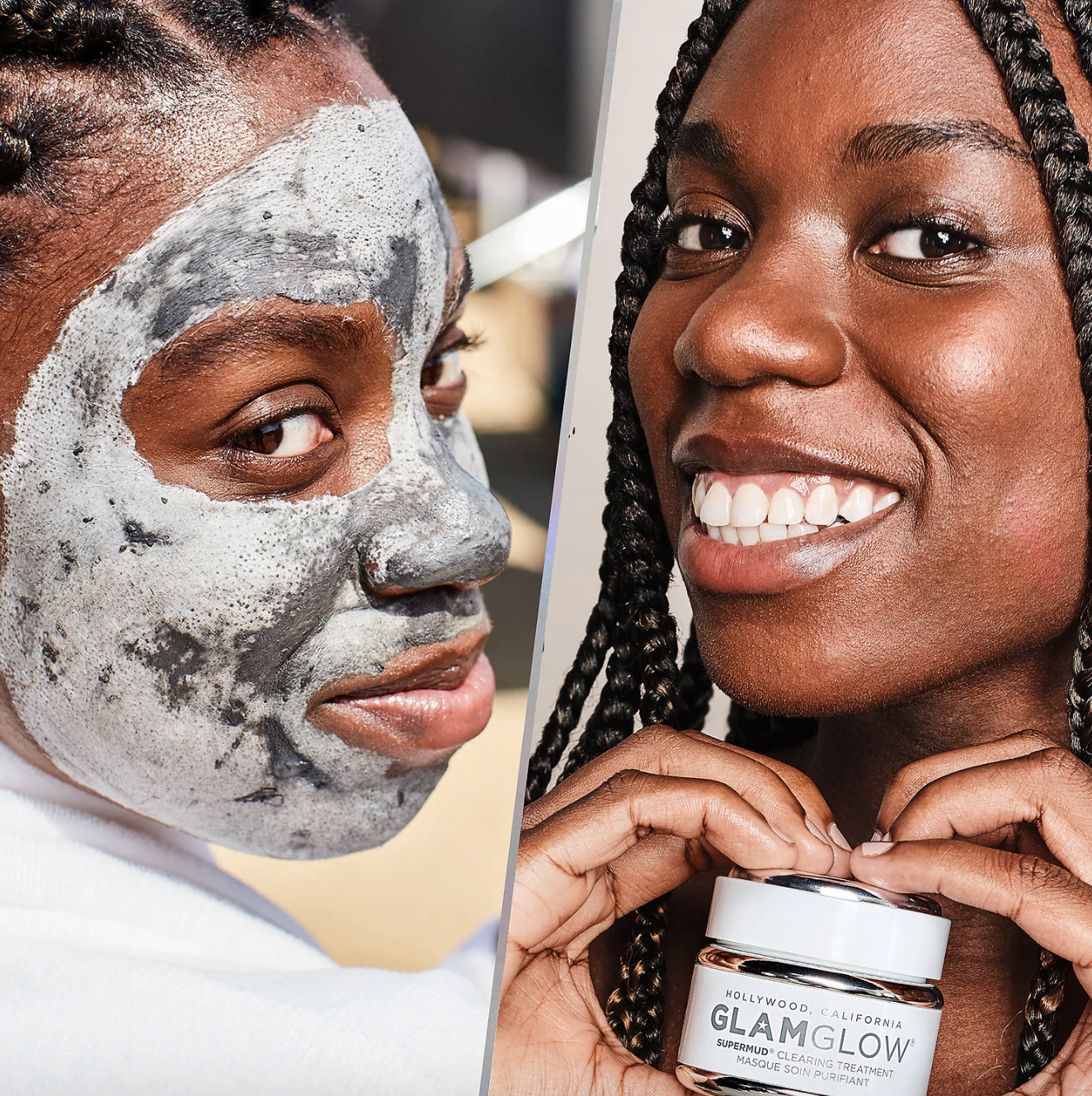 on left, model wearing the mask; on right, model holding up white jar of product