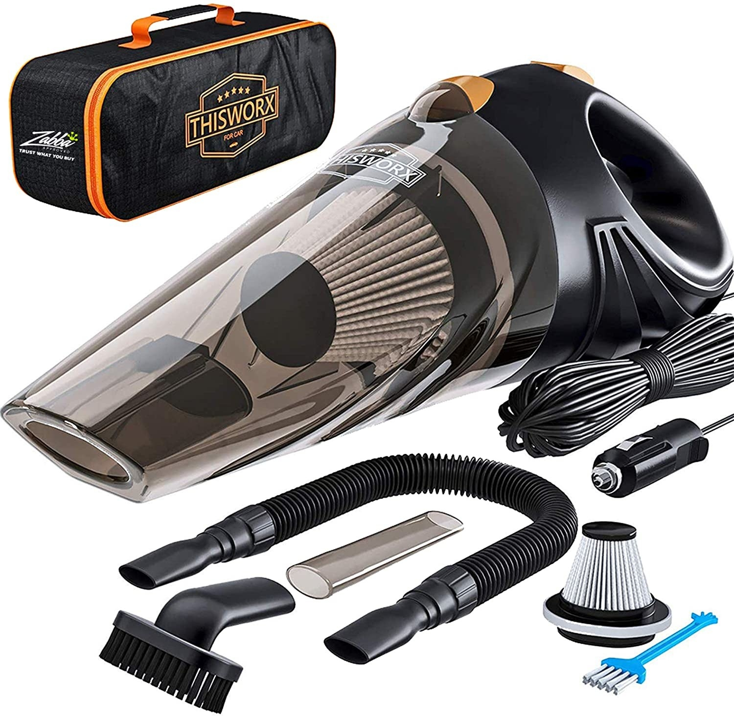 A car vacuum kit that includes a handheld vacuum, a storage bag, and various attachments, plugs, and filters