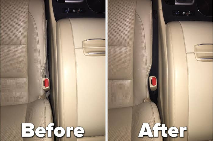 A before and after image of the empty space between a car's driver's seat and center console that's been filled with seat gap filler