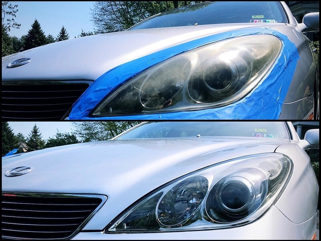 A before and after image of a car with dirty, scratched headlights covers that have been restored thanks to a wax protectant system