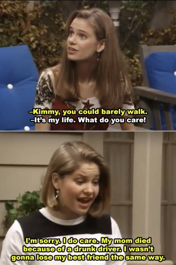 8. When Kimmy tried drinking and driving on Full House, she continued to act as if it wasn't a big deal, even after she sobered up. The entire exchange between DJ and Kimmy seemed out of place.
