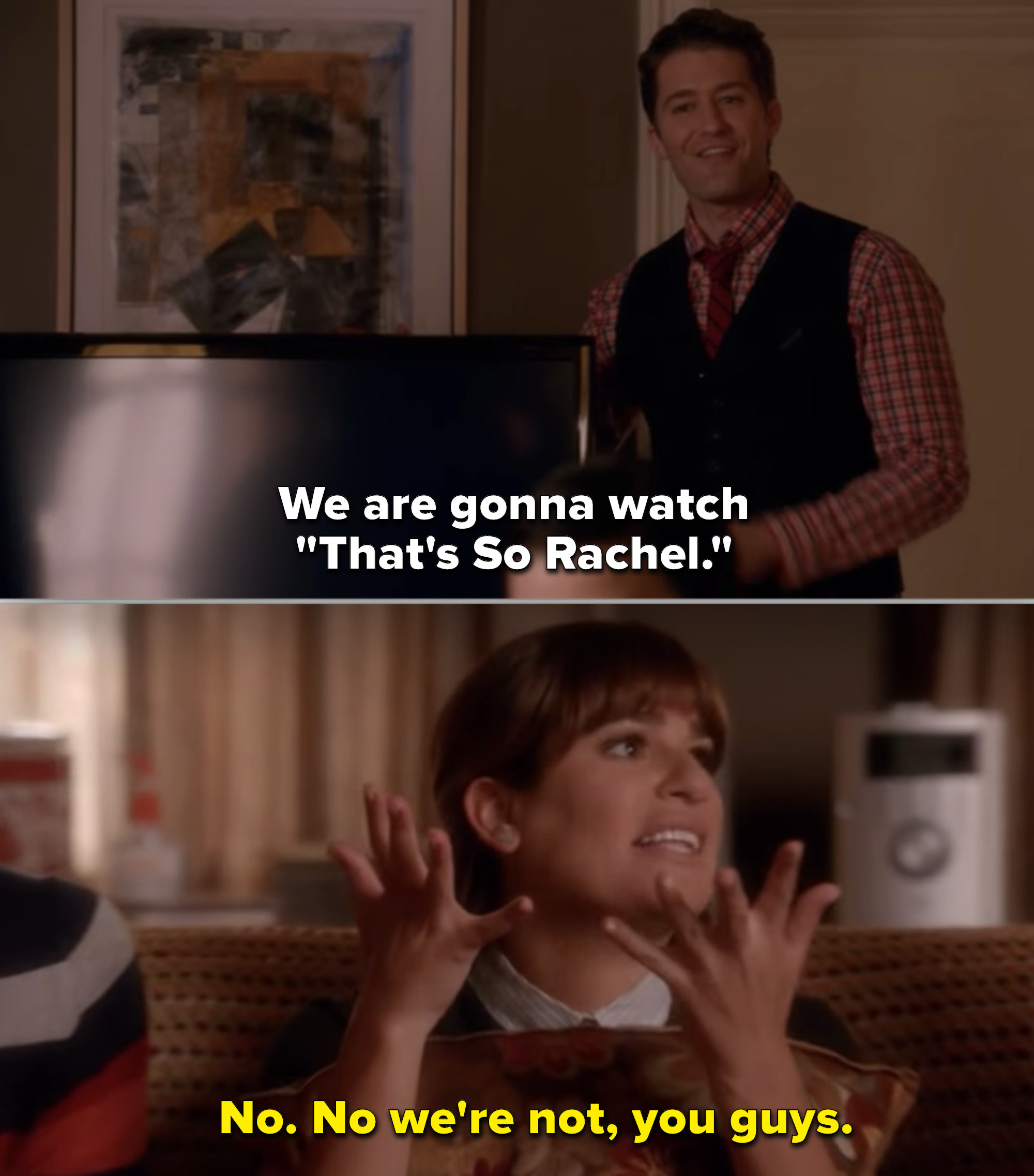 Rachel sitting on a couch