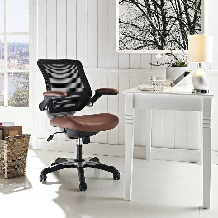 The leatherette office chair in tan