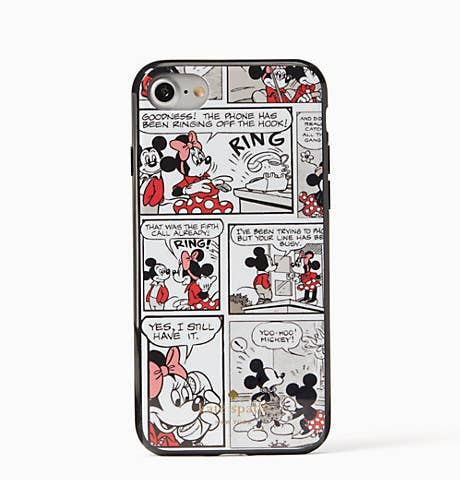 Closeup of back of the phone case showing a comic-strip design of Minnie and Mickey Mouse