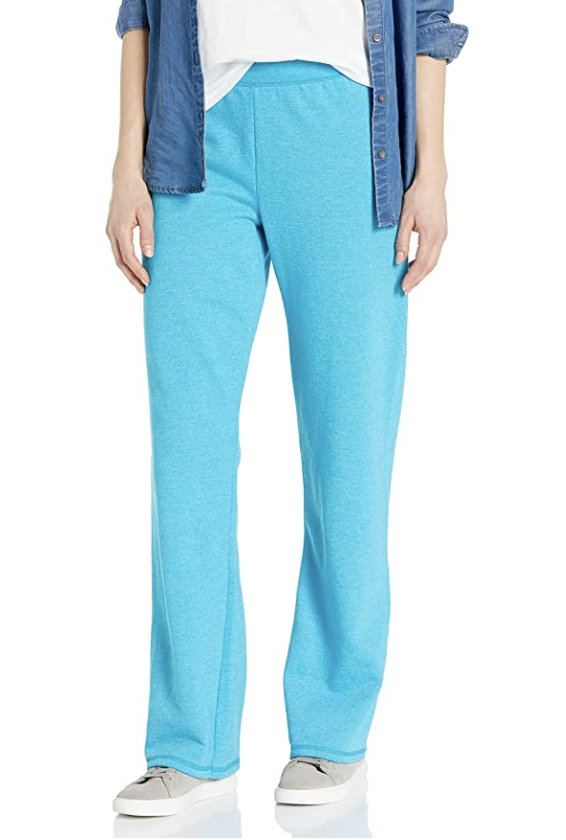 A pair of blue sweatpants with an elastic waistband and bootcut hems