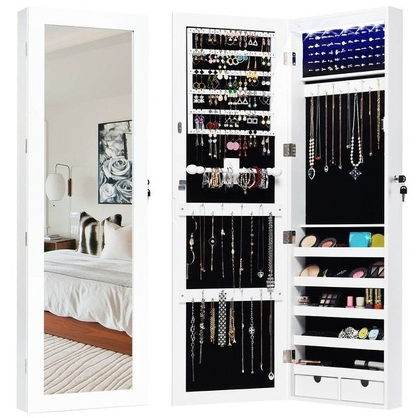 white wall mounted cabinet with mirrored front when closed. also shown open with special hooks, shelves, notches, and other storage spots for jewelry like necklaces, earrings, bracelets, and makeup