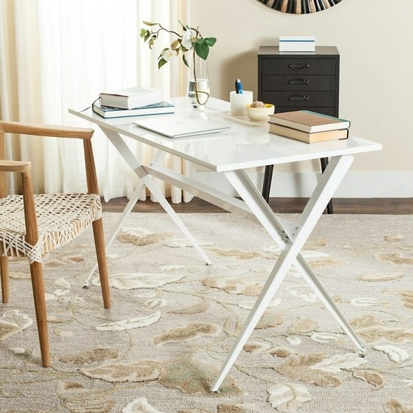 white mid-century modern minimalist desk with glossy tabletop, visible legs, and no drawers