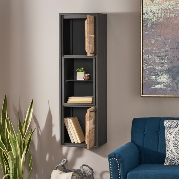 gray wall mounted vertical cabinet with two rustic wood cabinet doors that open to storage compartments and two open shelves in the middle