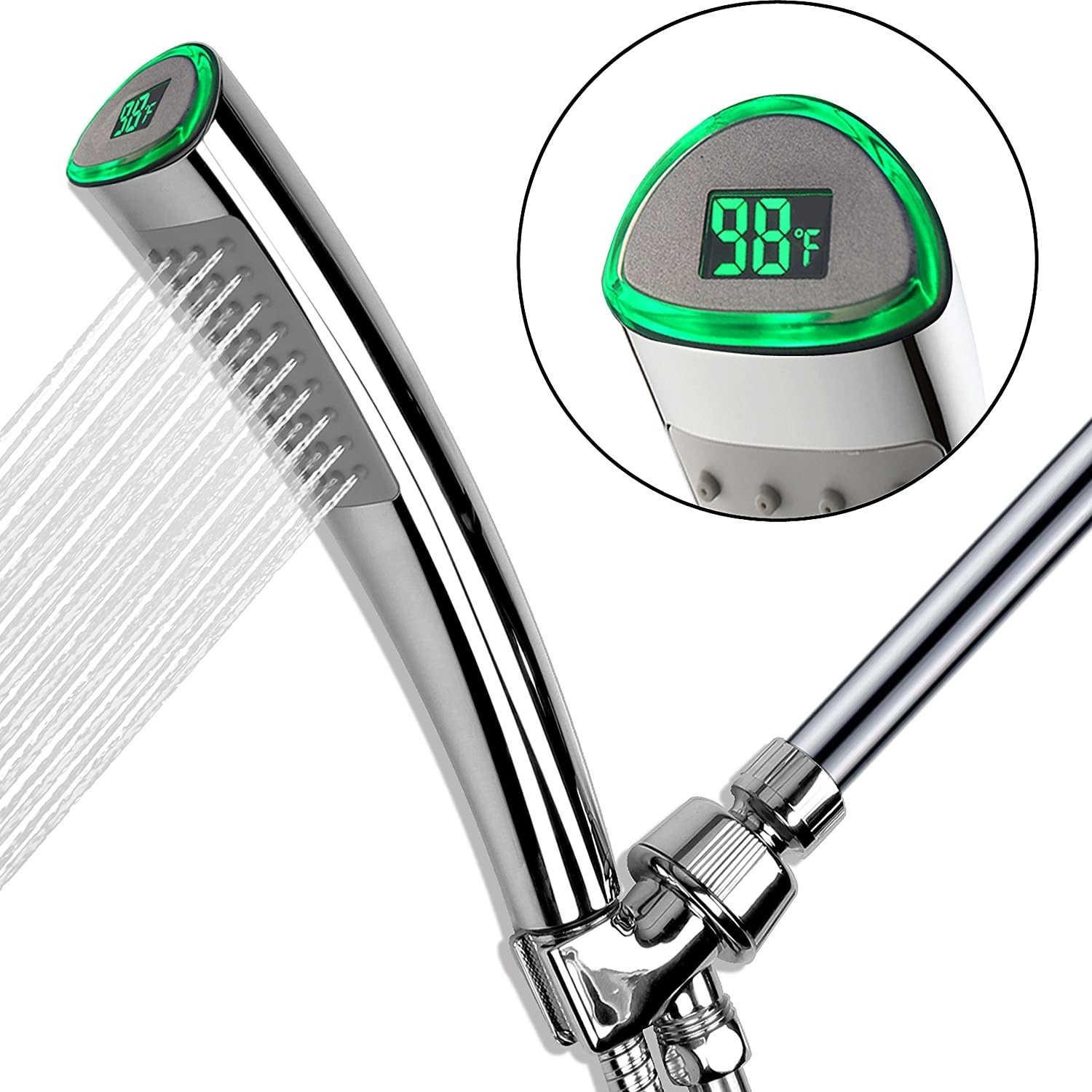 A chrome shower head with an LED display showing the temperature of the water