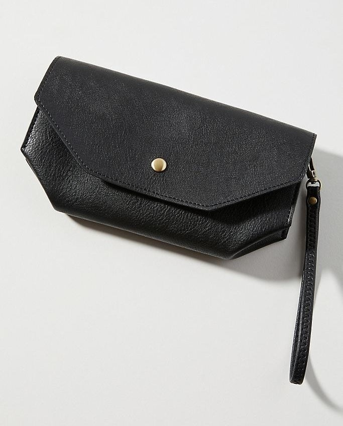 A black wallet with wrist strap on a white background