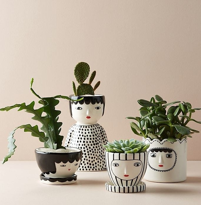 Four vases that look like people, each painted in black and white with red lips. All vases are filled with a different green plant.