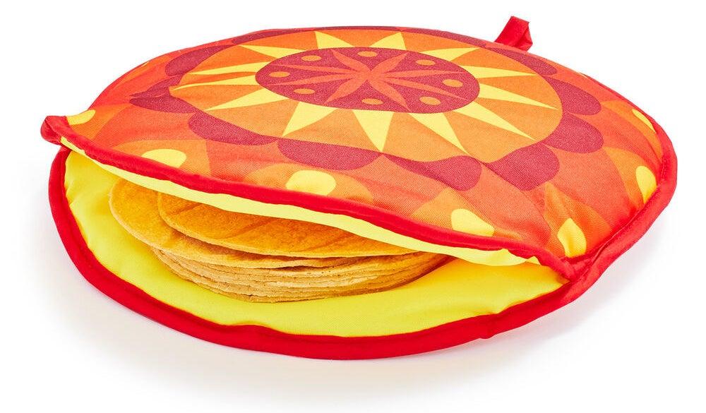 A fabric tortilla warmer filled with several corn tortillas