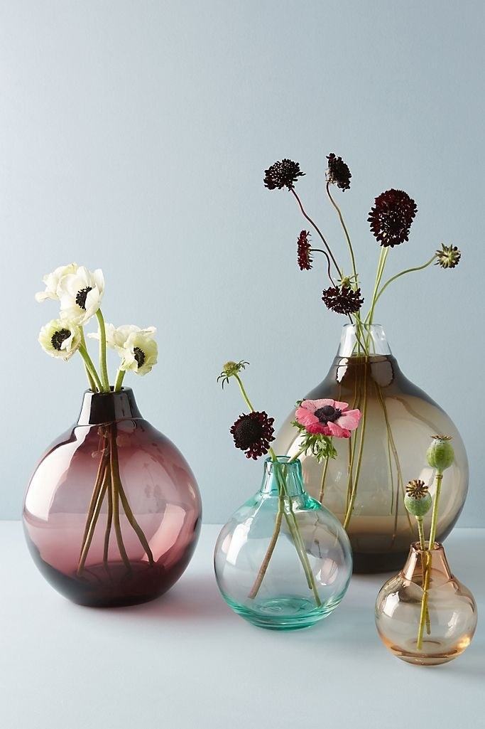 Four translucent vases that are round at the bottom and taper in, each a different size and color