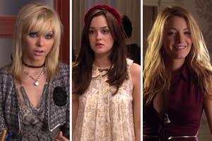 Gossip Girl characters from left to right: Jenny Humphrey, Blair Waldorf, Serena Van Der Woodsen