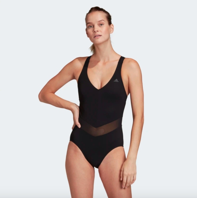A model wearing the swimsuit in black