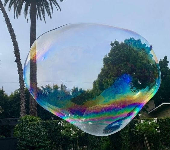A reviewer's picture of a giant bubble floating in their backyard