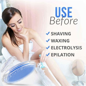 The brush can be used before shaving, waxing, electrolysis, and epilation