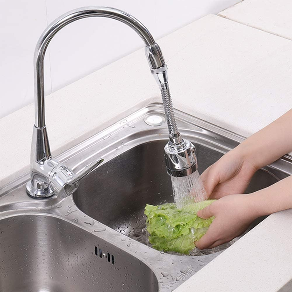 Tap extender washing cloth in sink