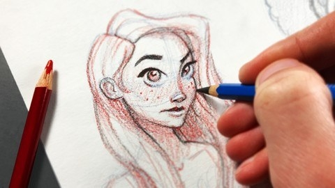 Hand holding blue pencil over drawing of girl's face