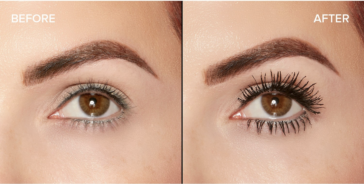 Side-by-side close-ups of a person's eye. The eye on the left has short, thin lashes and the eye on the right, which has the mascara on, has lashes that look longer, darker and a little thicker