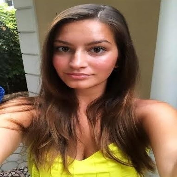 an image of BuzzFeed Editor AnaMaria Glavan with straight hair parted to the side