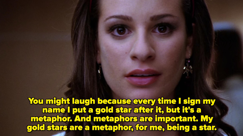 """雷切尔:""""我是说;你可能会笑,因为每次我签名后都会加上一颗金星,但它';这是个比喻。隐喻也很重要。对我来说,我的黄金开始是一个隐喻,是一个明星;"""