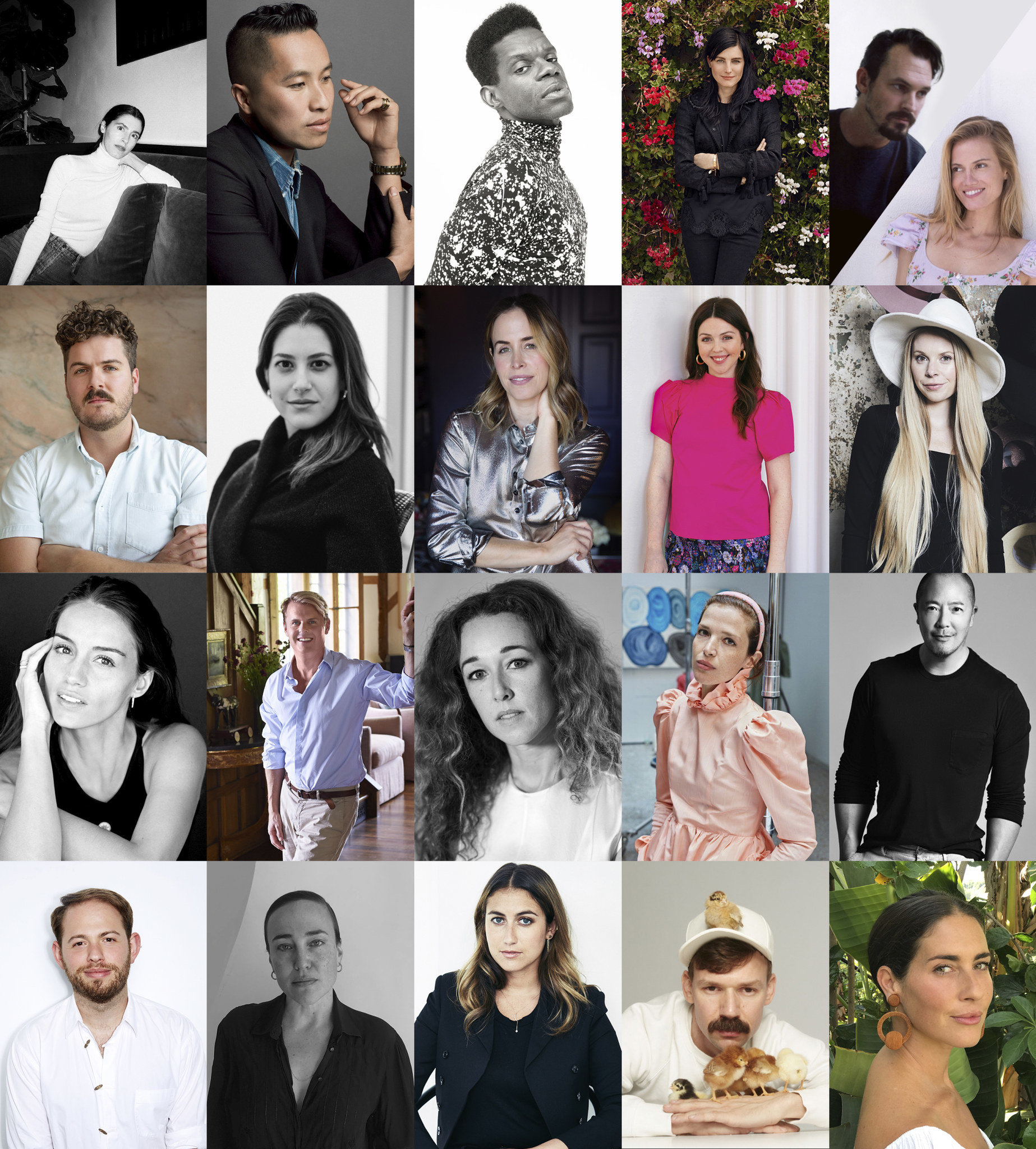 A collage of photos of the 20 designers chosen to be in Common Threads: Vogue x Amazon Fashion