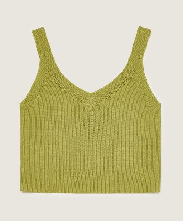 cropped lime green knitted tank top with a v-neck and back and skinny straps