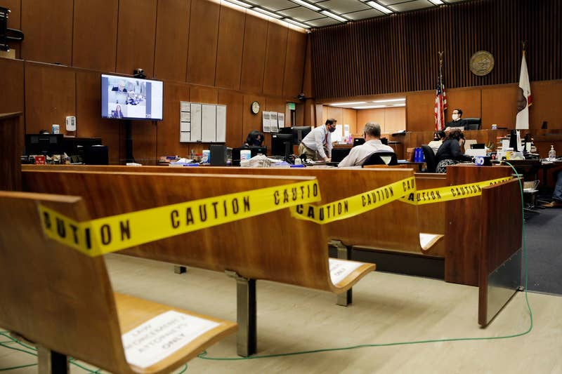 a judge in an empty courtroom