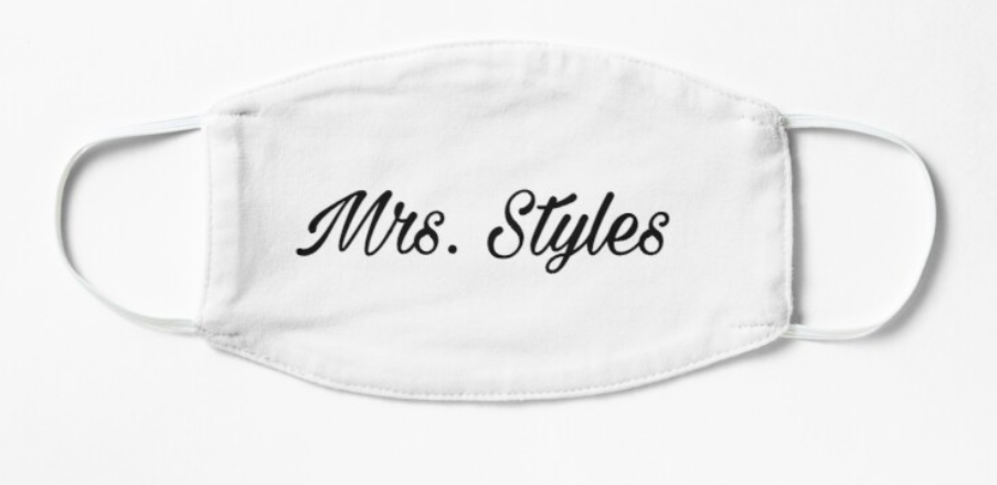 """A white non-medical face mask that reads """"Mrs. Styles"""" in black font"""