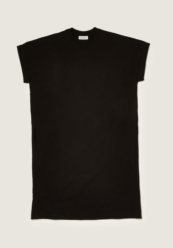 black T-shirt dress with a high round neck