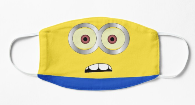 A nonmedical face mask with a Despicable Me minion face printed on it