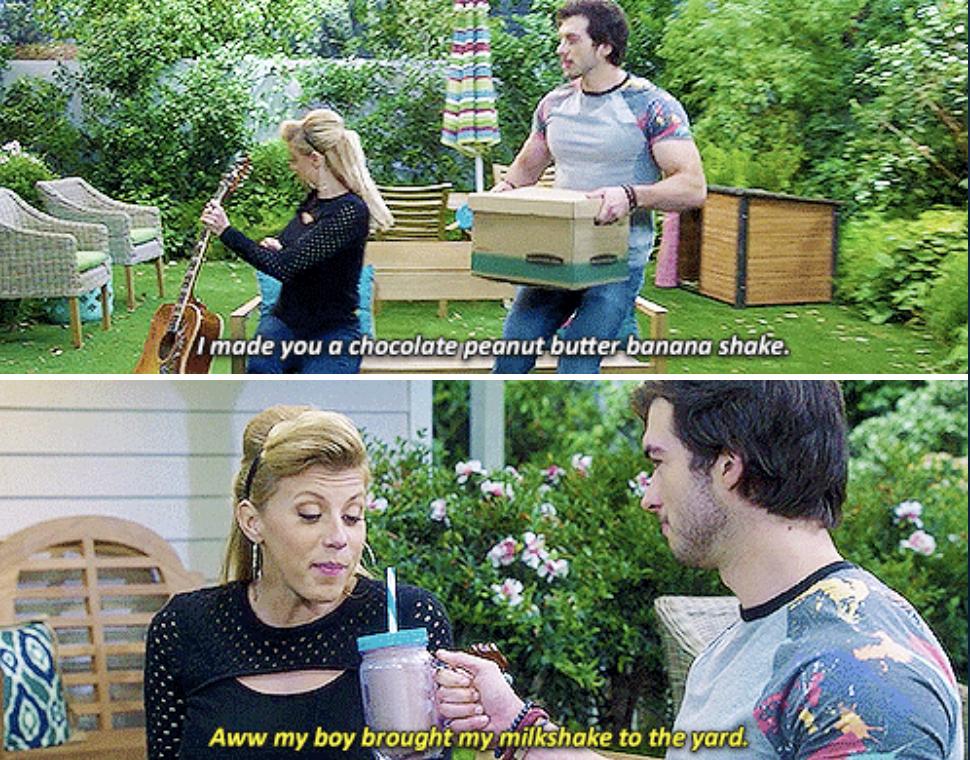 """斯蒂芬妮:"""";啊,我儿子把我的奶昔带到院子里来了;"""
