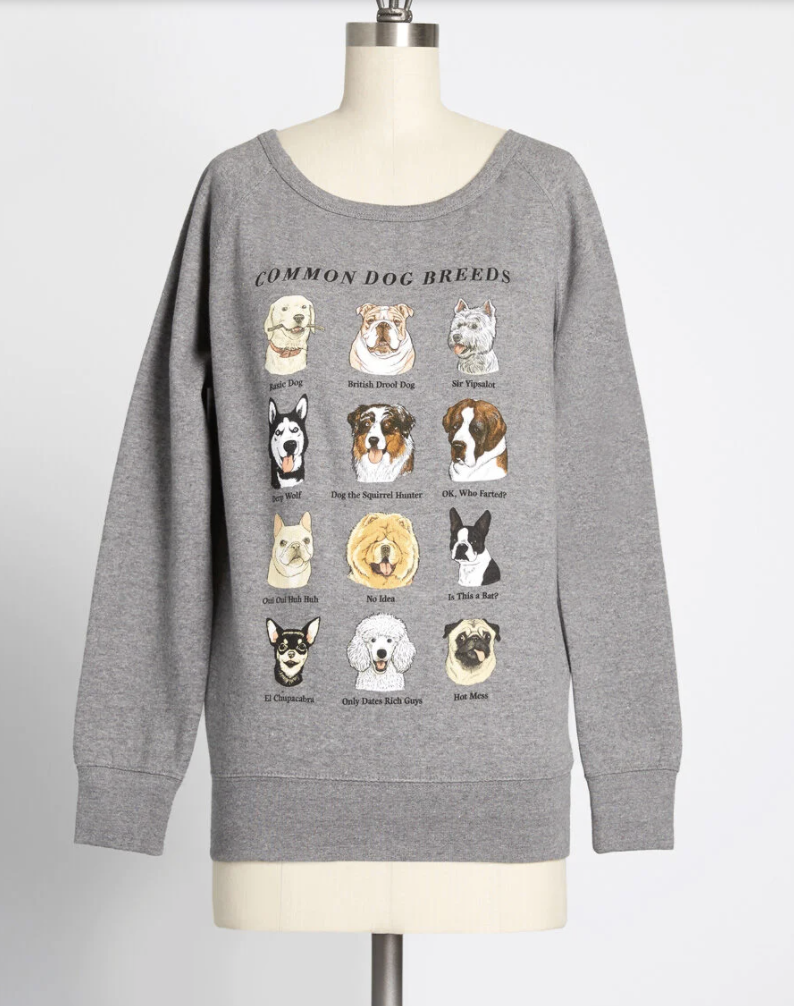 a grey sweatshirt on a mannequin that features 12 different dog breeds and funny sayings underneath each dog
