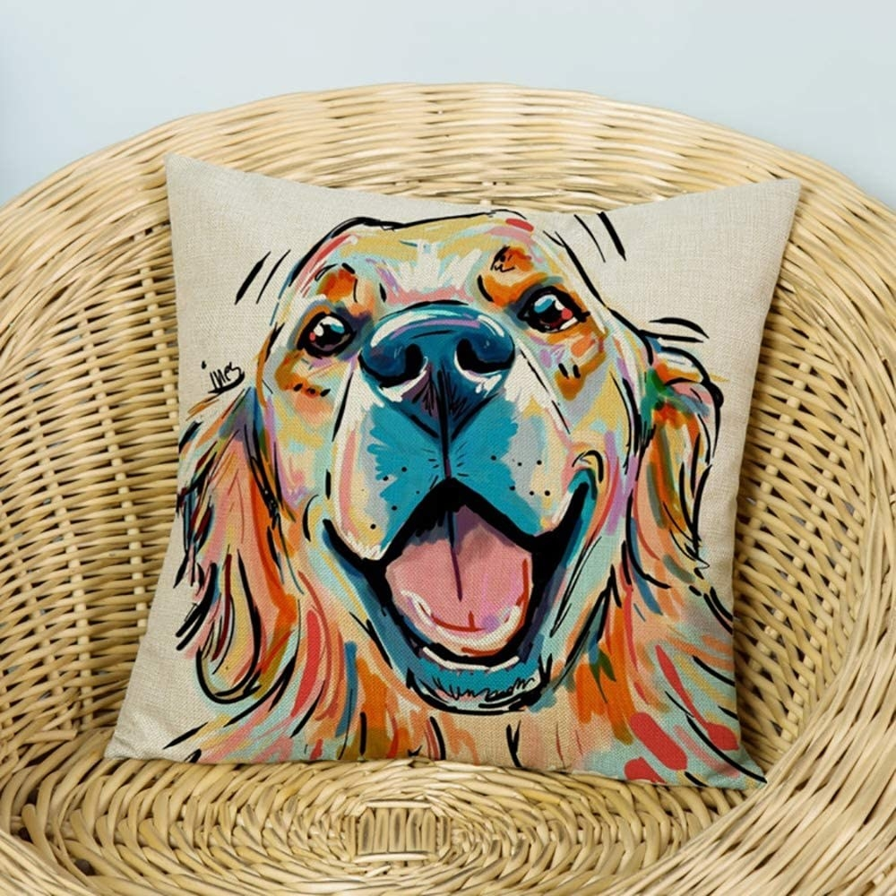 a multi-colored design of a dog that is meant to look painted onto a pillow case
