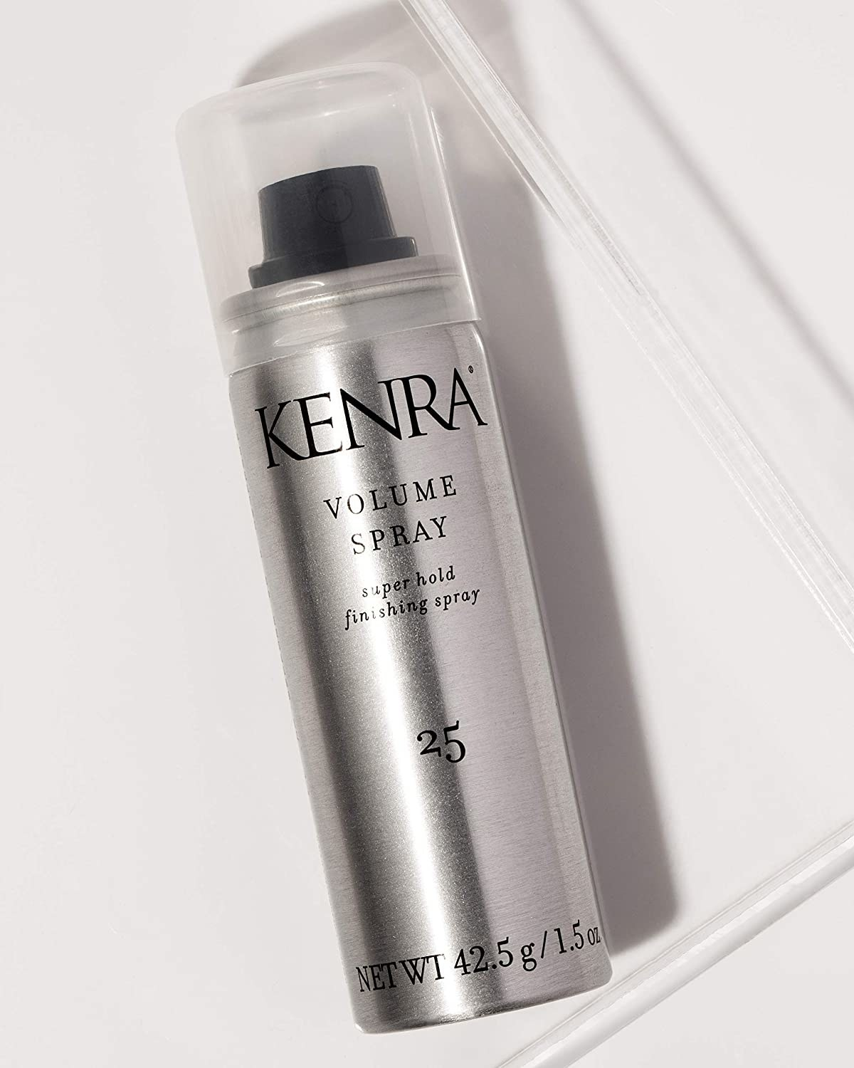 """silver can with black cap labeled """"Kenra volume spray"""""""