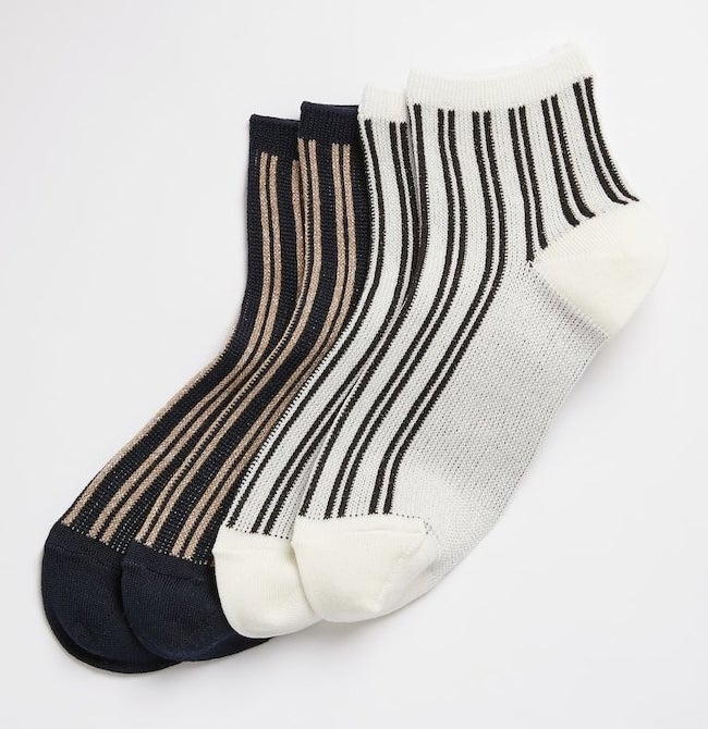 metallic ankle socks in black and tan and in black and white with small vertical stripes