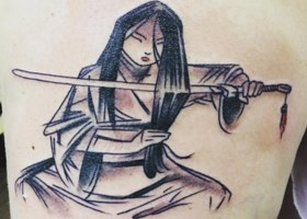 Concept art for Mulan cutting her hair with a knife