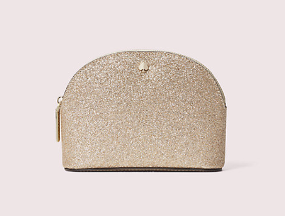 Closeup of gold glitter dome cosmetic case