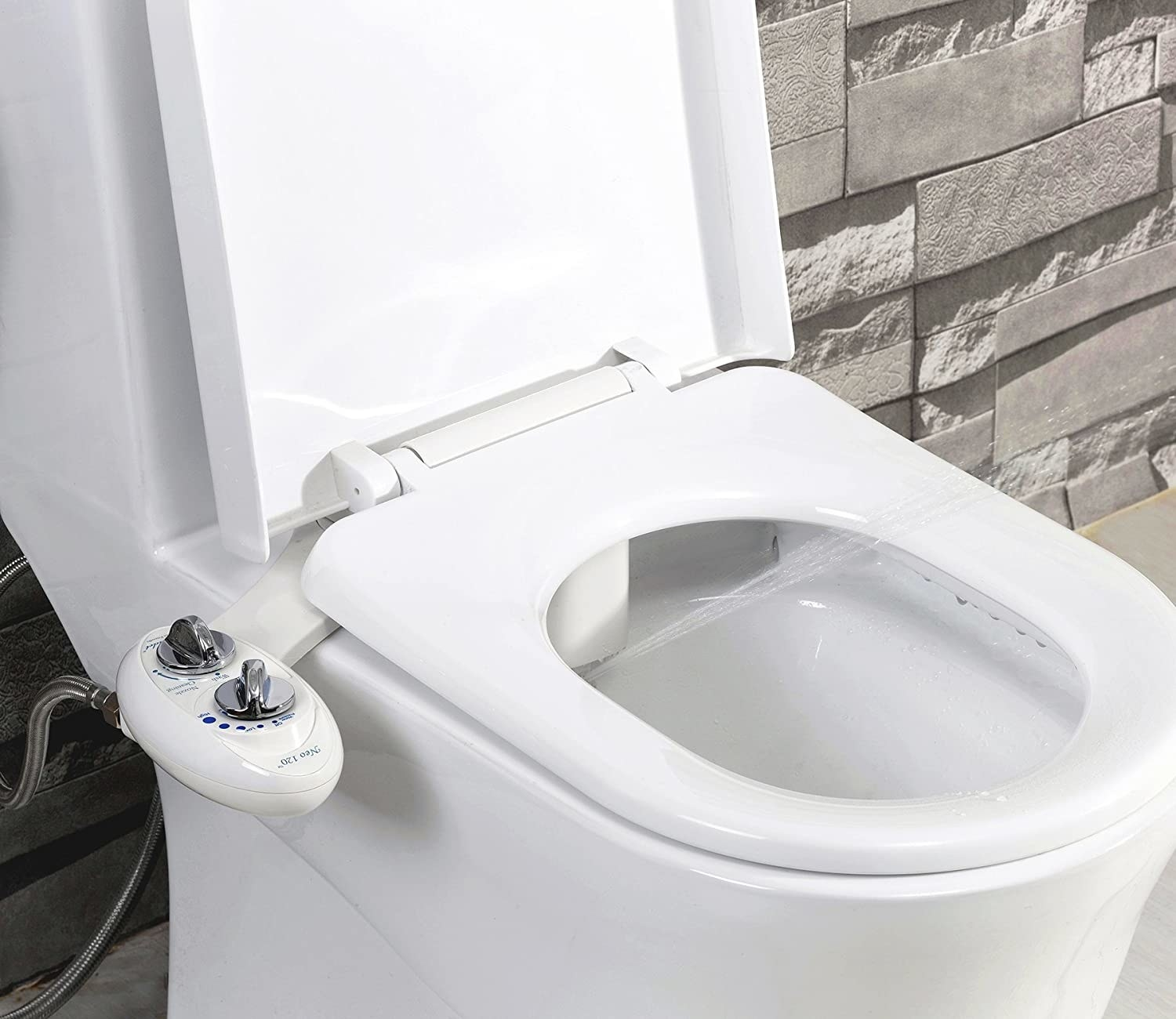 The bidet, attached to the side of a toilet
