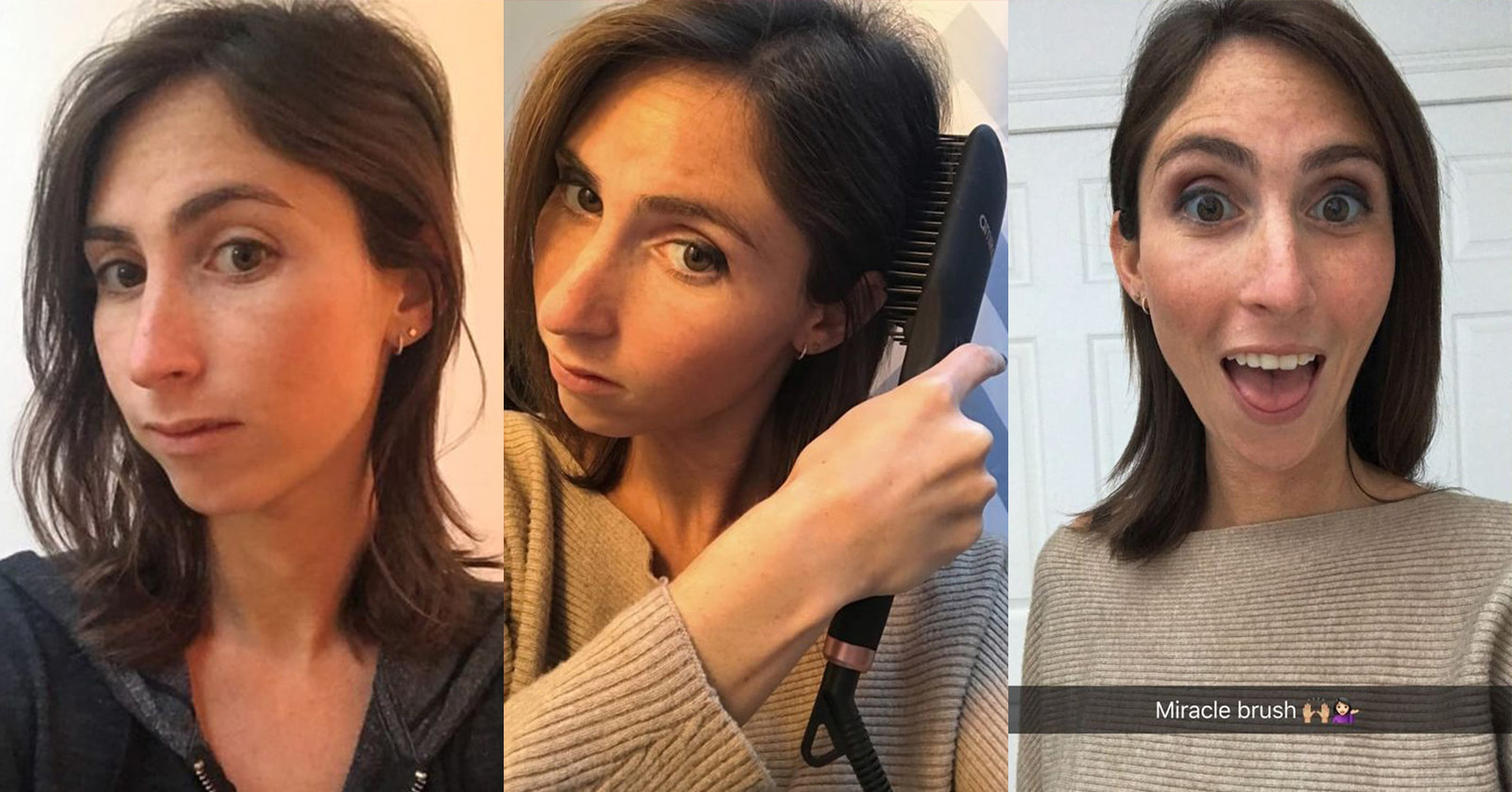 "On the left, BuzzFeed Writer Hannah Loewentheil with slightly wavy brown hair; in the middle, Hannah running a black brush through her hair; on the right, Hannah with straight hair labeled with the text ""miracle brush"""